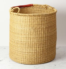 "Tall Grass Hamper Basket with Leather Handle - Large - 19"" x 18"""