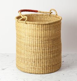 "Tall Grass Hamper Basket with Leather Handle - Small - 17"" x 14"""