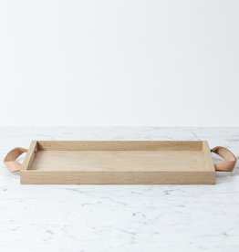"Skagerak Danish Norr Tray with Leather Handles - Small - Oak - 14"" x 8 1/4"
