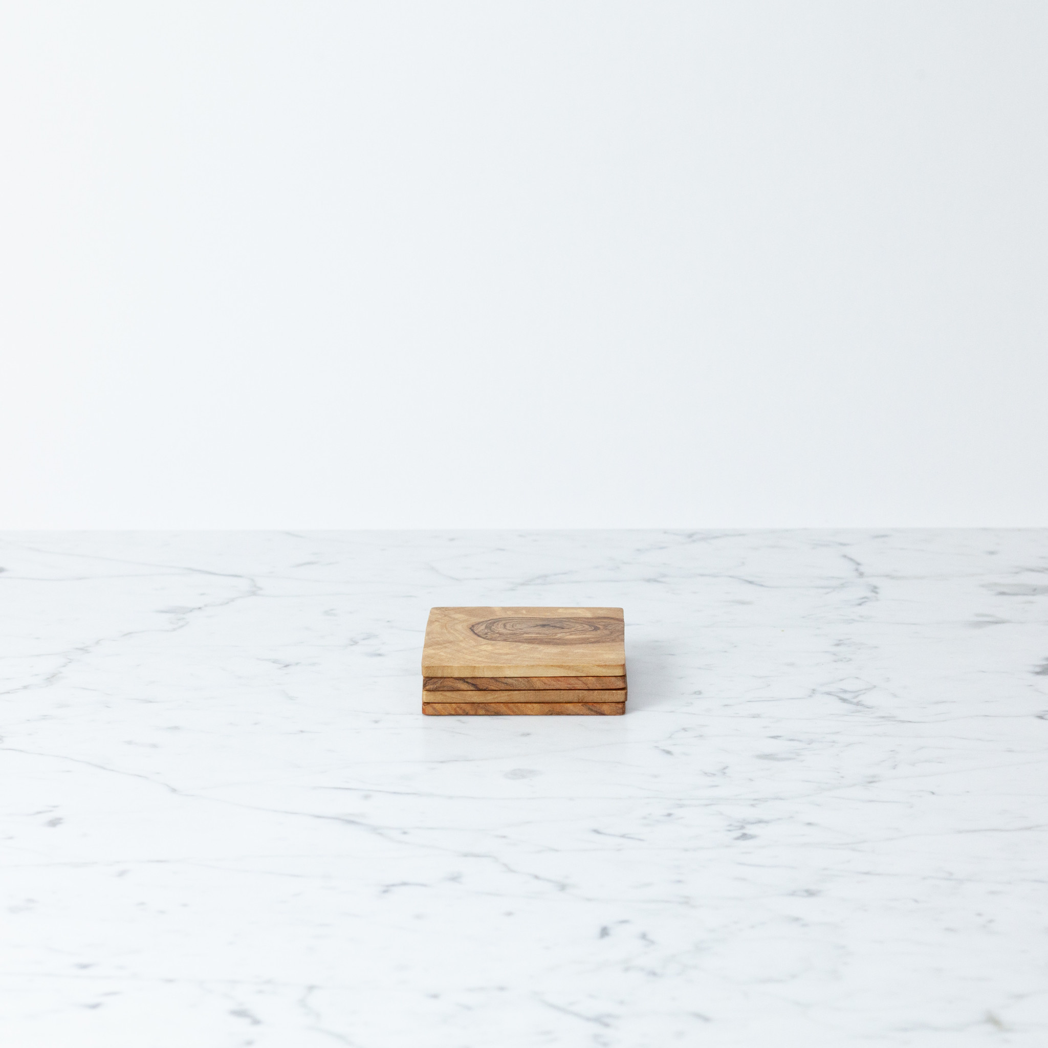 Olive Wood Set of 4 Square Coasters - 3.5""