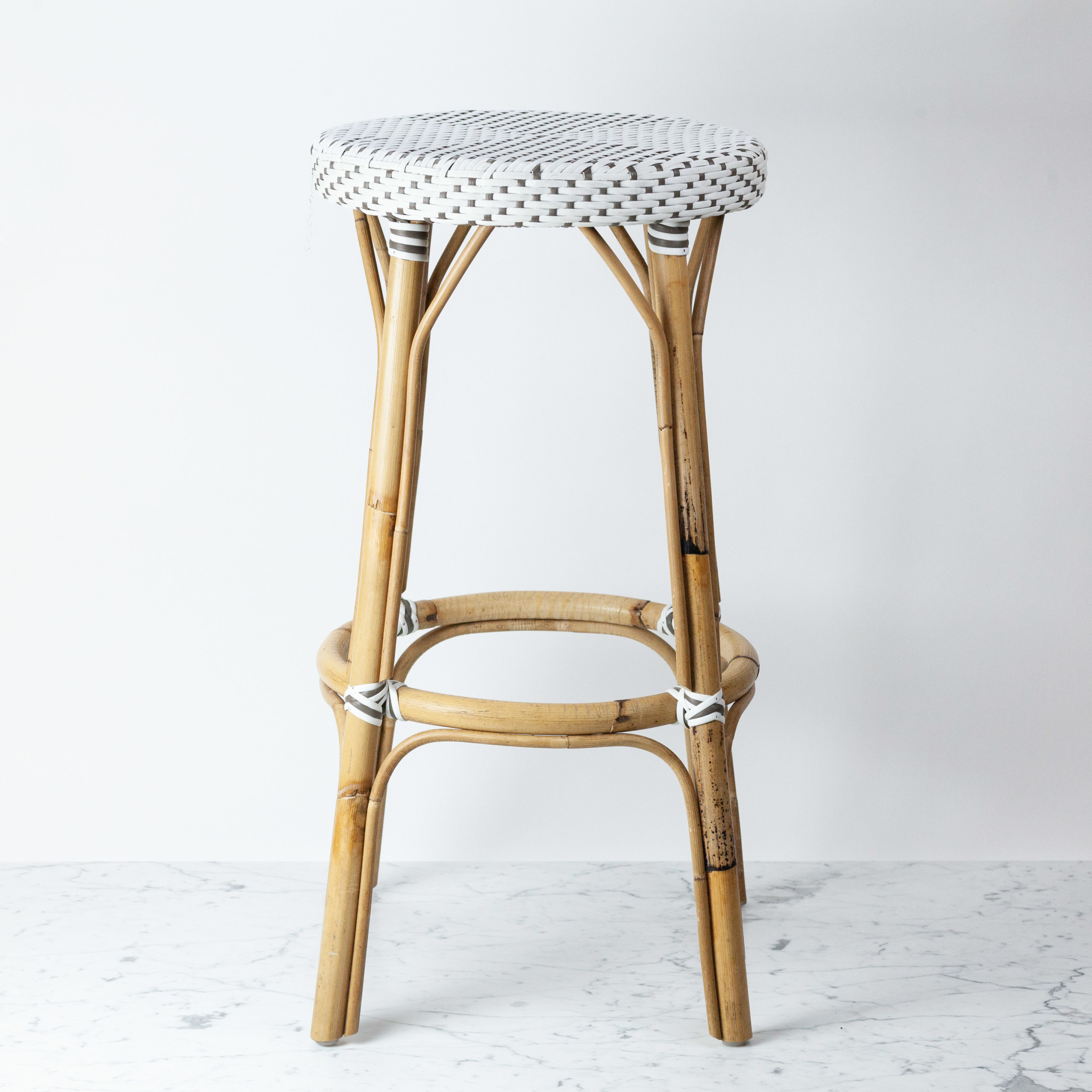 Sika-Design Simone Rattan Bar Stool - White - 30.5""