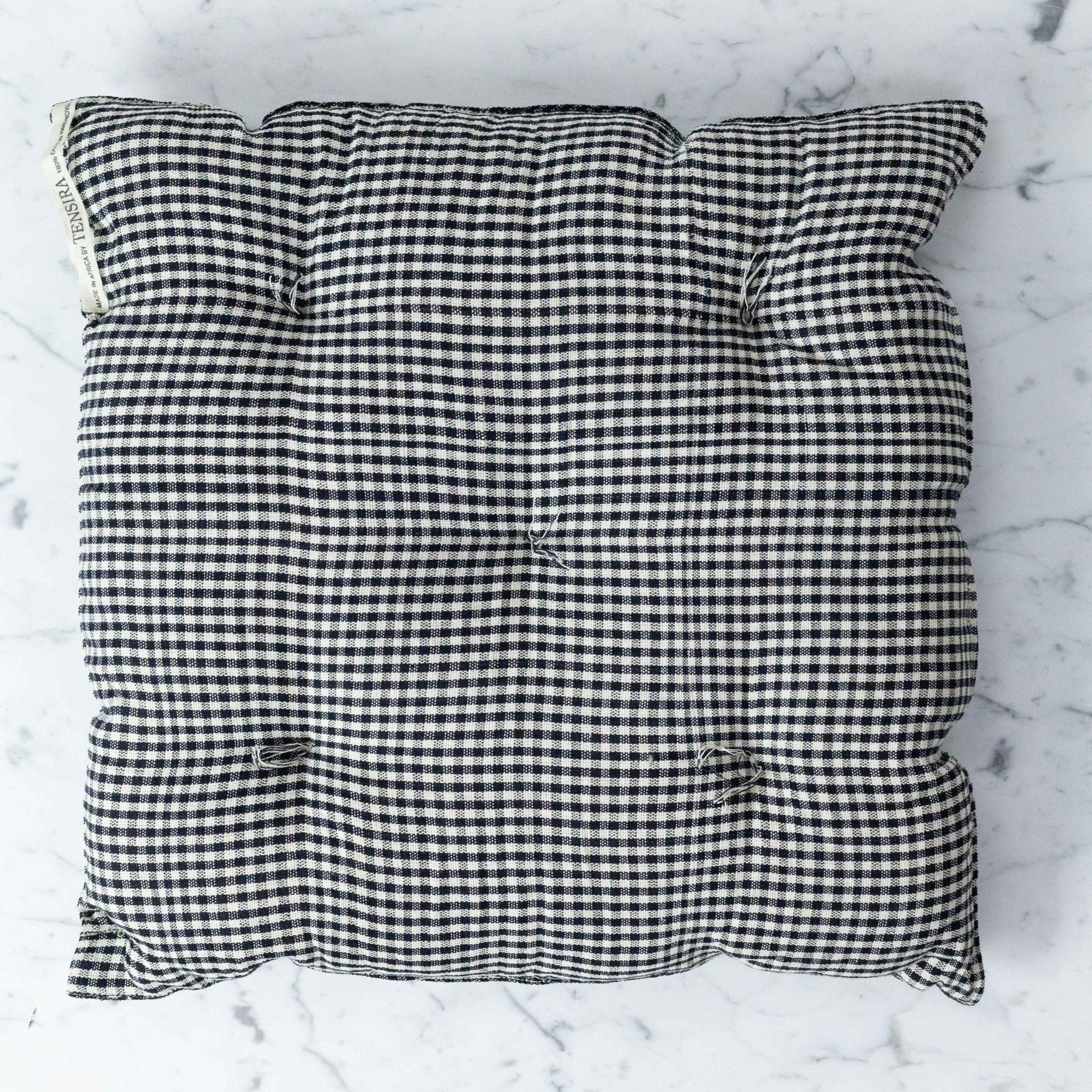 TENSIRA Handwoven Cotton Chair Cushion - Black + White Gingham - 16 x 16 inch