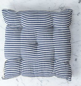 TENSIRA Handwoven Cotton Chair Cushion - Off White + Navy Blue Medium Stripe - 16 x 16 inch