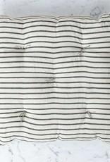 TENSIRA Handwoven Cotton Chair Cushion - Off White with Slim Regular Black Stripe - 16 x 16 inch