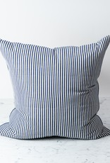 TENSIRA Handwoven Cotton Pillow with Down Insert - Off White + Navy Blue Medium Stripe -  24 x 24 in