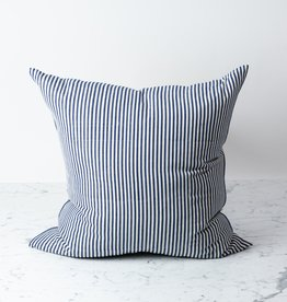 TENSIRA Handwoven Cotton Pillow with Down Insert - Off White + Navy Blue Medium Stripe -  24 x 24""