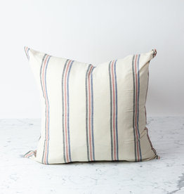 TENSIRA Handwoven Cotton Pillow with Down Insert - Button Closure - Off White with Navy, Red + Black Triple Stripe - 24 x 24""