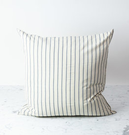 TENSIRA Handwoven Cotton Pillow with Down Insert - Button Closure - Off White with Slim Regular Grey Stripe - 24 x 24 in