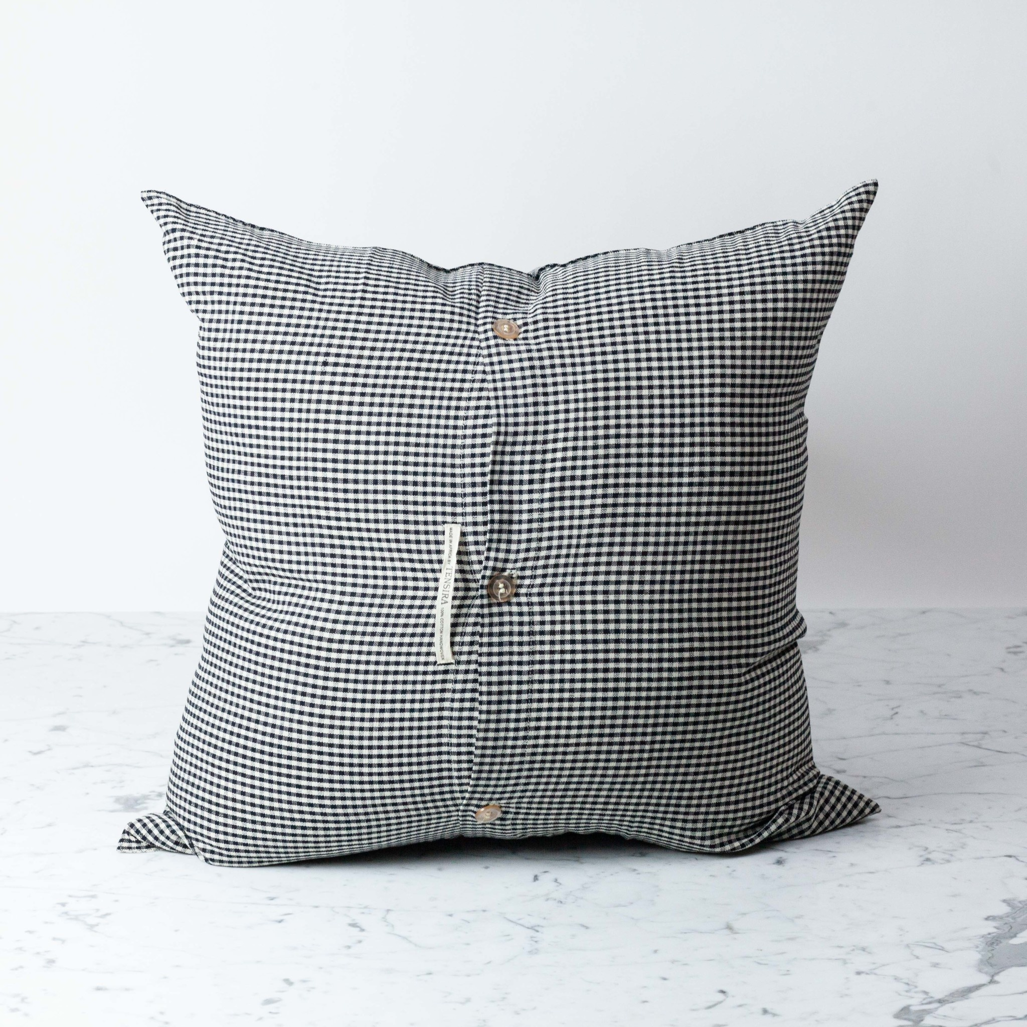 TENSIRA Handwoven Cotton Pillow with Down Insert - Button Closure - Black + White Gingham - 24 x 24 in