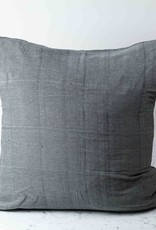 TENSIRA Handwoven Cotton Pillow with Down Insert - Envelope Closure - Off White + Black Skinny Stripe - 32 x 32""