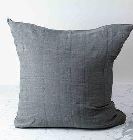 "TENSIRA Handwoven Cotton Pillow with Down Insert - Envelope Closure - Off White + Black Skinny Stripe - 32 x 32"""