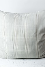TENSIRA Handwoven Cotton Pillow with Down Insert - Envelope Closure - Grey + White Thick Stripe - 32 x 32 inch