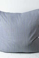 TENSIRA Handwoven Cotton Pillow with Down Insert - Envelope Closure - Off White + Navy Blue Medium Stripe - 32 x 32 inch