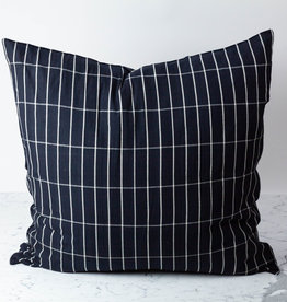 TENSIRA Handwoven Cotton Pillow with Down Insert - Envelope Closure - Black with Off White Check - 32 x 32 inch