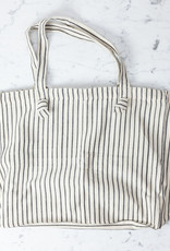 TENSIRA Handwoven Cotton Tote Bag with Zipper Closure - Off White with Slim Regular Black Stripe - 16 x 19 x 8 inch