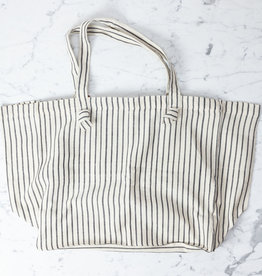 TENSIRA Handwoven Cotton Tote Bag with Zipper Closure - Off White with Slim Regular Black Stripe - 16 x 19 x 8 inch