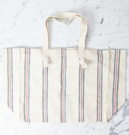 TENSIRA Handwoven Cotton Tote Bag with Zipper Closure - Off White with Navy, Red + Black Triple Stripe - 16 x 19 x 8 inch