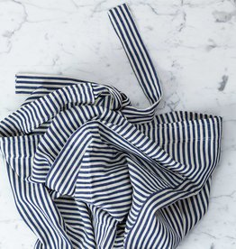 TENSIRA Handwoven Cotton Half Apron - Off White + Navy Blue Medium Stripe