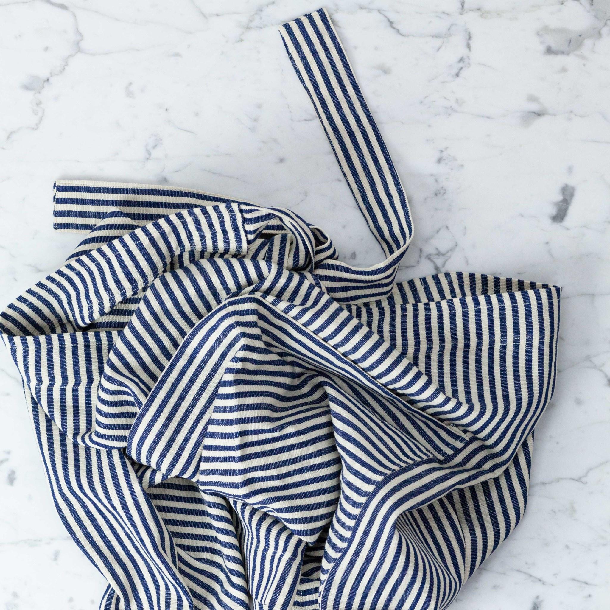 TENSIRA Handwoven Cotton Half Apron - Off White + Navy Blue Medium Stripe