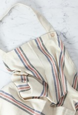TENSIRA Handwoven Cotton Full Apron - Off White with Navy, Red + Black Triple Stripe
