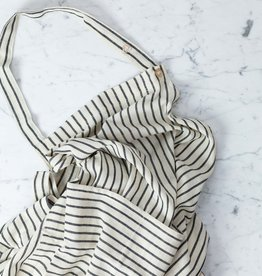 TENSIRA Handwoven Cotton Full Apron - Off White with Slim Regular Black Stripe