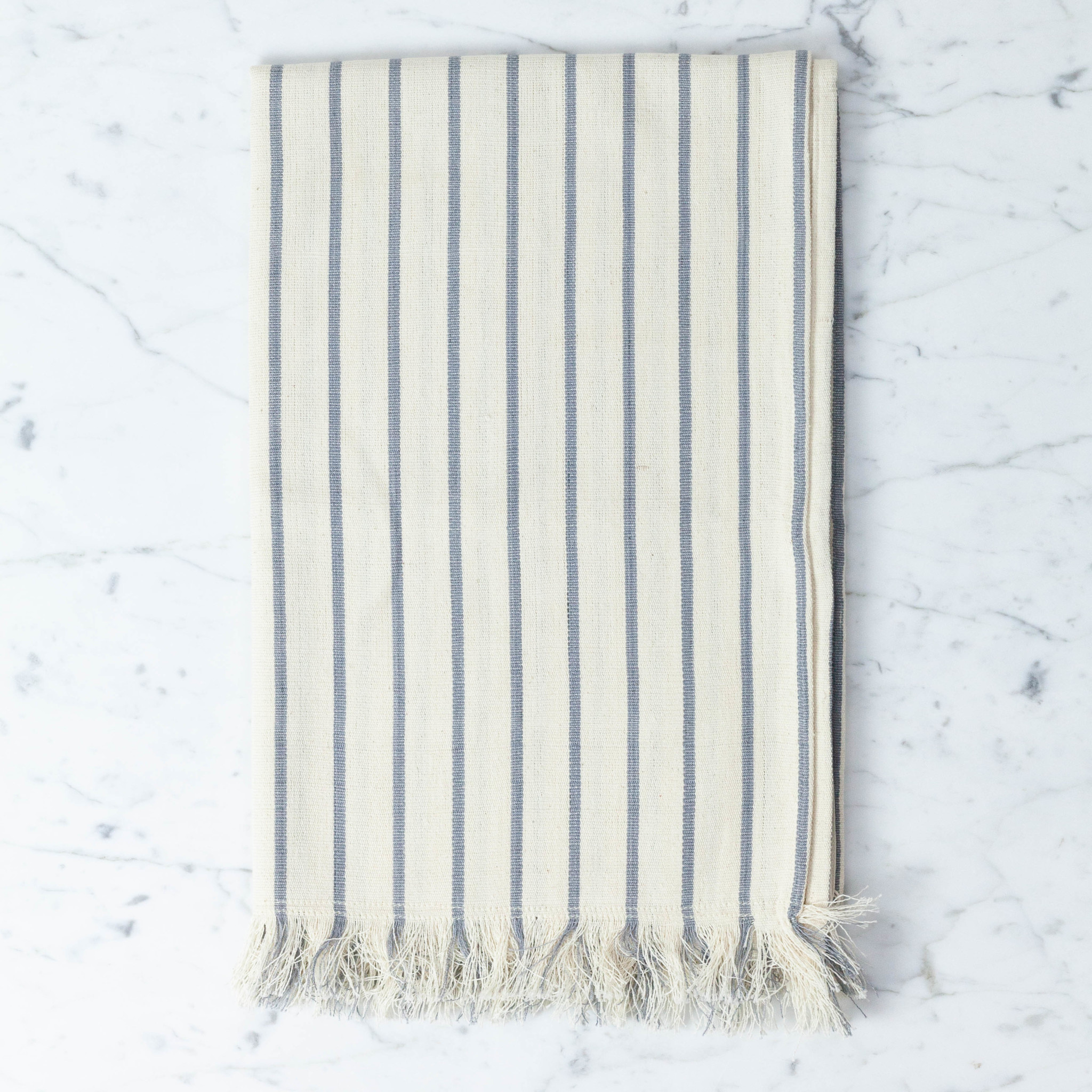 TENSIRA Handwoven Cotton Table Runner with Fringe Edge - Off White with Slim Regular Grey Stripe - 18 x 57 inch
