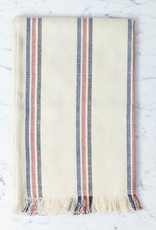 TENSIRA Handwoven Cotton Table Runner with Fringe Edge - Off White with Navy, Red + Black Triple Stripe - 18 x 57 inch