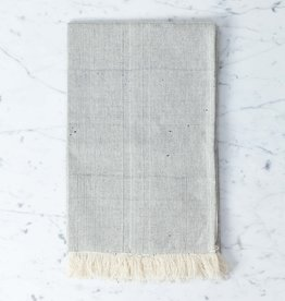 TENSIRA Handwoven Cotton Table Runner with Fringe Edge - Pale Grey - 18 x 57 inch