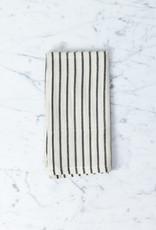 TENSIRA Handwoven Cotton Napkin - Off White with Slim Regular Black Stripe - 19 x 19 in