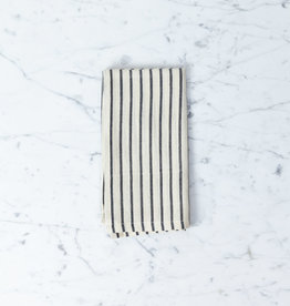 TENSIRA Handwoven Cotton Napkin - Off White with Slim Regular Black Stripe - 19 x 19""