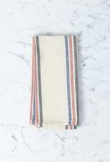 TENSIRA Handwoven Cotton Napkin - Off White with Navy, Red + Black Triple Stripe - 19 x 19 in