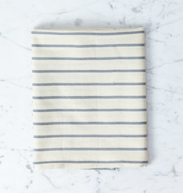 TENSIRA Handwoven Cotton Kitchen Towel - Off White with Slim Regular Grey Stripe - 20 x 28 in