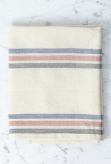 TENSIRA Handwoven Cotton Kitchen Towel - Off White with Navy, Red + Black Triple Stripe - 20 x 28 in