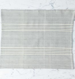 TENSIRA Handwoven Cotton Placemat - Grey + White Thick Stripe - 14 x 18 inch