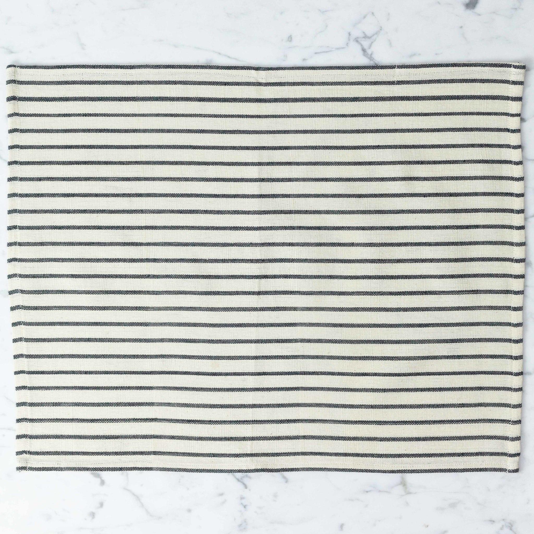 TENSIRA Handwoven Cotton Placemat - Off White with Slim Regular Black Stripe - 14 x 18 inch
