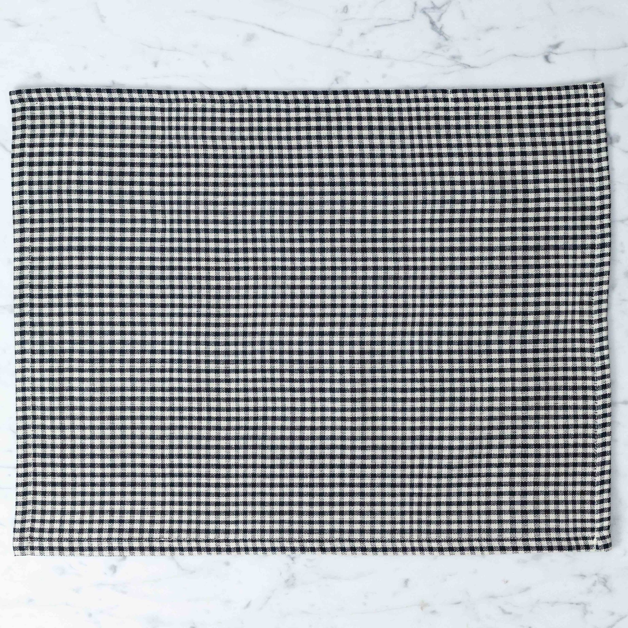 TENSIRA Handwoven Cotton Placemat - Black + White Gingham - 14 x 18 inch