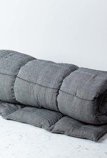 "TENSIRA 30 x 80"" - Handwoven Cotton Cot Mattress with Kapok Filling - Off White + Black Skinny Stripe"