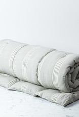 TENSIRA Handwoven Cotton Cot Mattress with Kapok Filling - Grey + White Thick Stripe - 30 x 80 inch