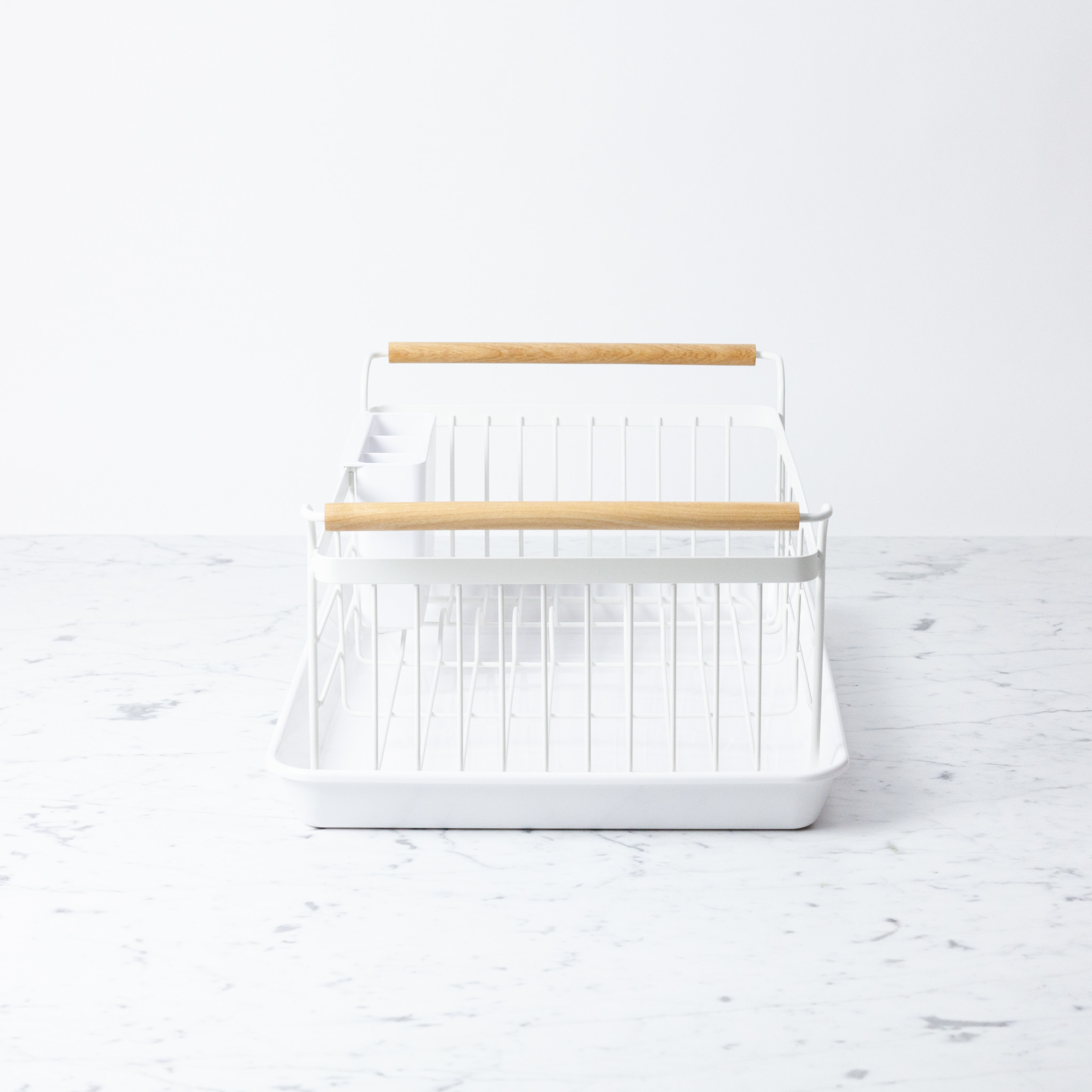 Yamazaki Home Tosca Dish Drainer Rack with Drip Pan and Wood Handles - White