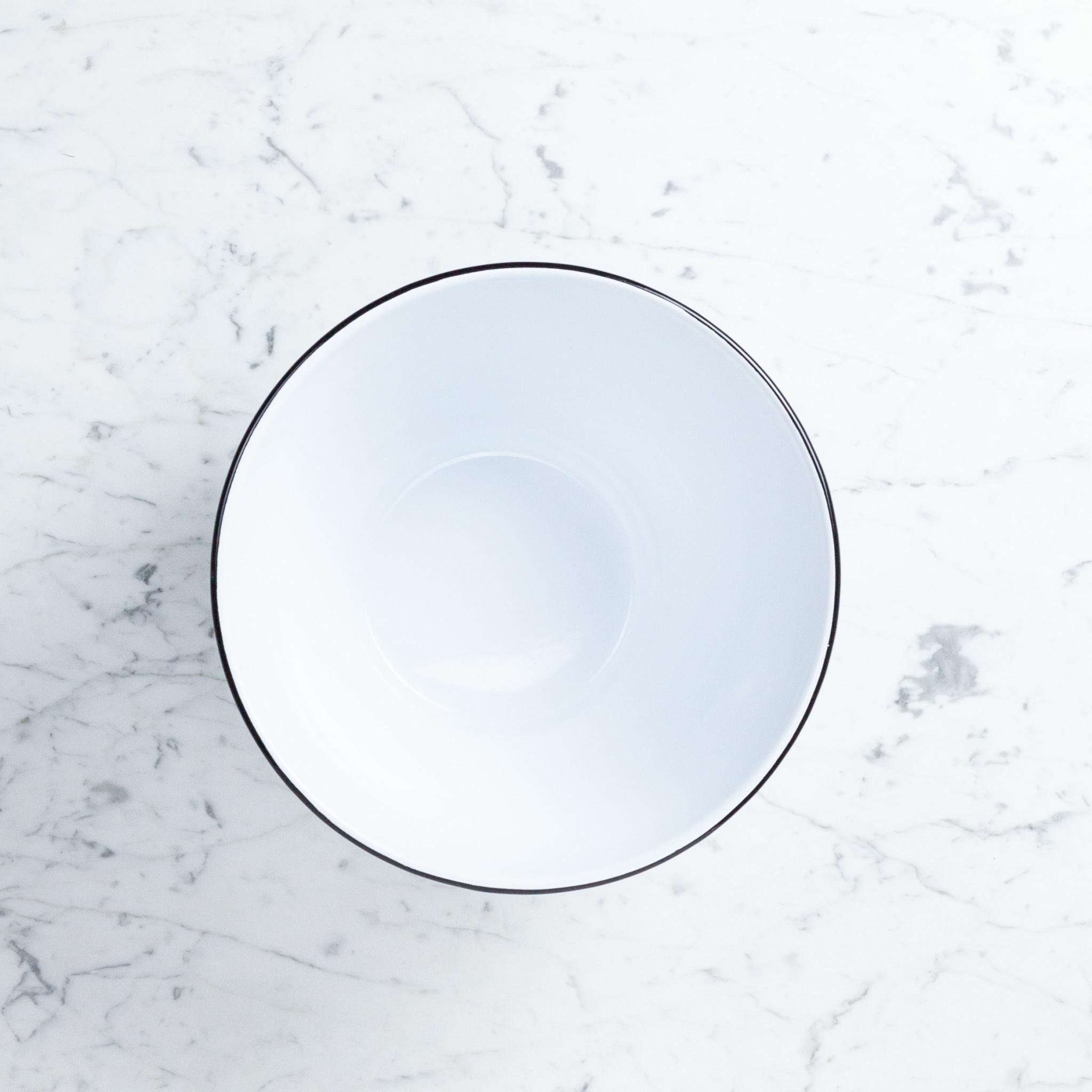 """Black + White Enamel Serving Bowl - Large - 4 qt - 10.75"""""""