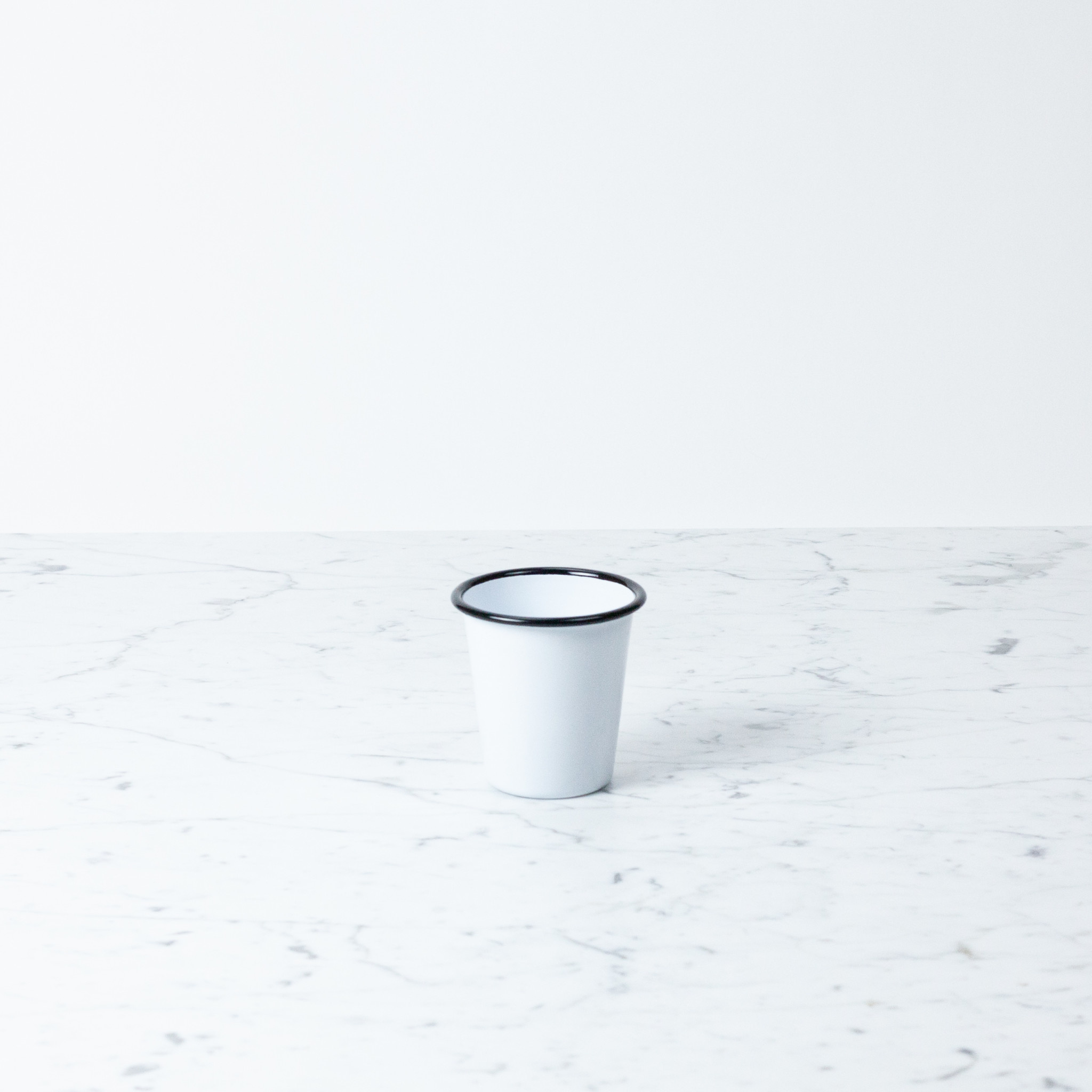 Black + White Enamel Short Tumbler - 10oz