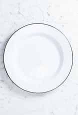 """Black + White Enamel Dinner or Buffet Serving Plate - 12"""""""
