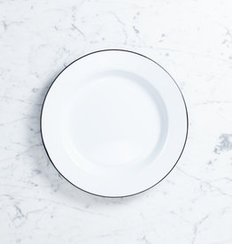"Black + White Enamel Buffet Serving Plate - 12"""