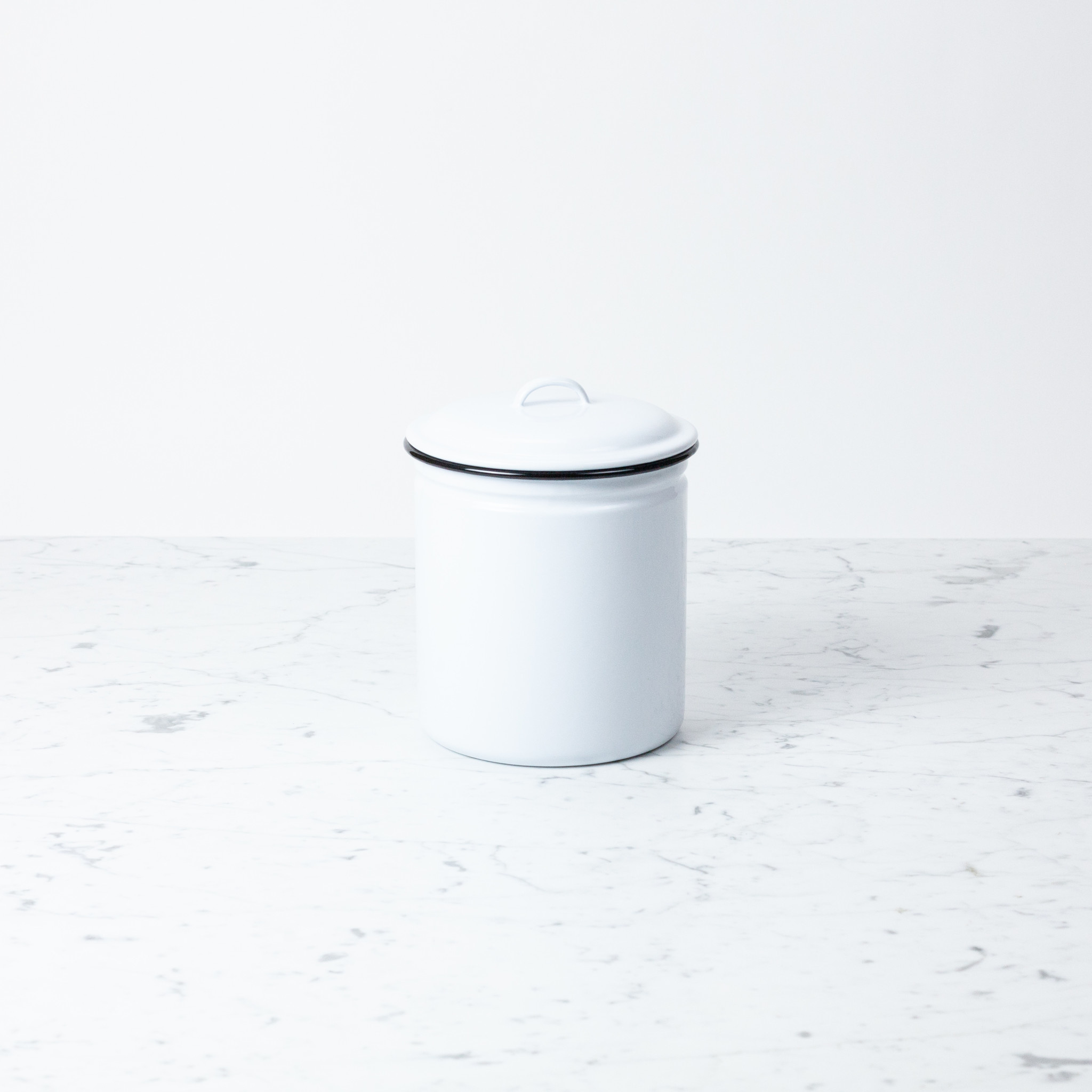 Black + White Enamel Storage Canister - 8.5""