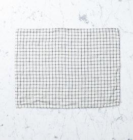 Petite Lithuanian Linen Place Mat or Tea Towel- Jenn Cream with Black Check
