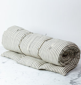 "TENSIRA 40 x 75"" - Handwoven Cotton Twin Size Bedroll - Off White with Slim Regular Black Stripe"