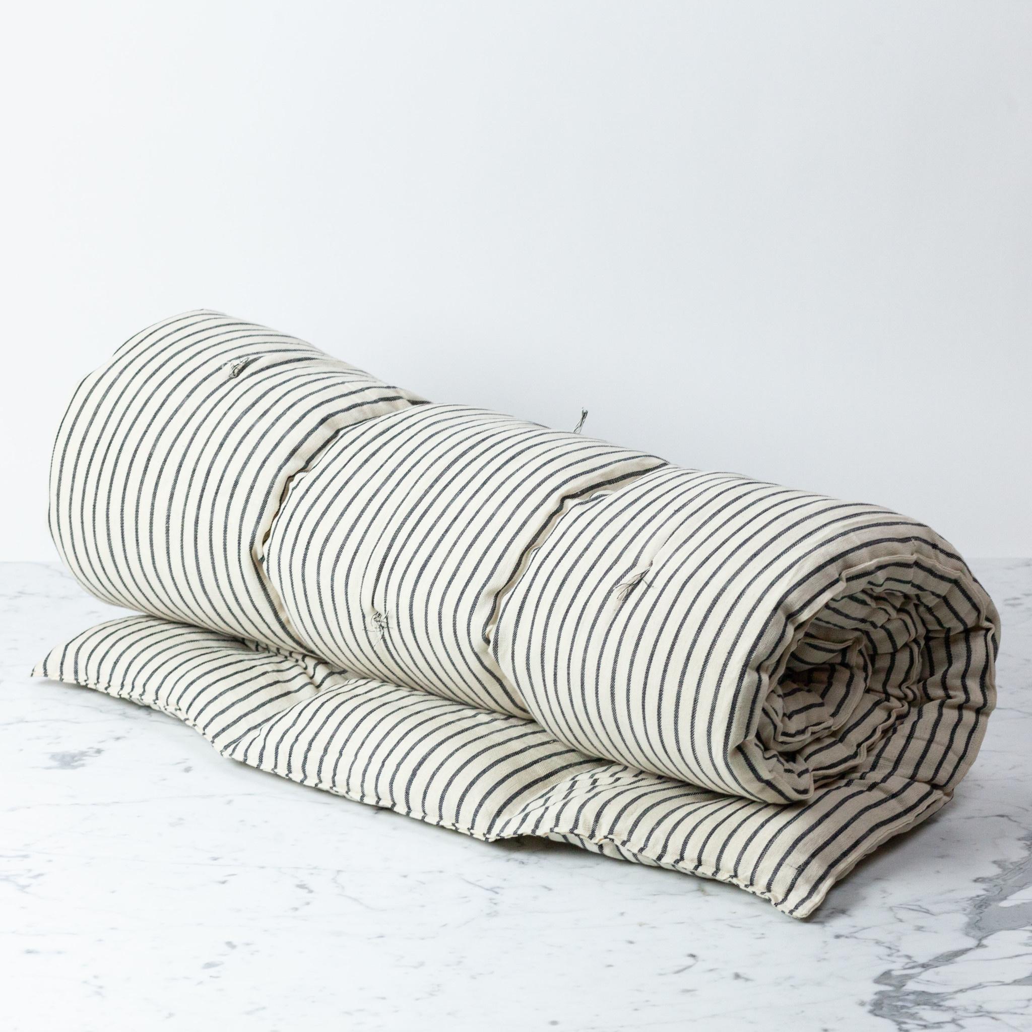 TENSIRA Handwoven Cotton Twin Size Bedroll - Off White with Slim Regular Black Stripe - 40 x 75 inch