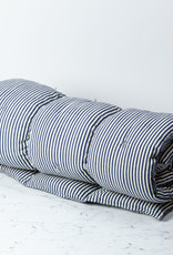 TENSIRA Handwoven Cotton Twin Size Bedroll - Off White + Navy Blue Medium Stripe - 40 x 75 inch