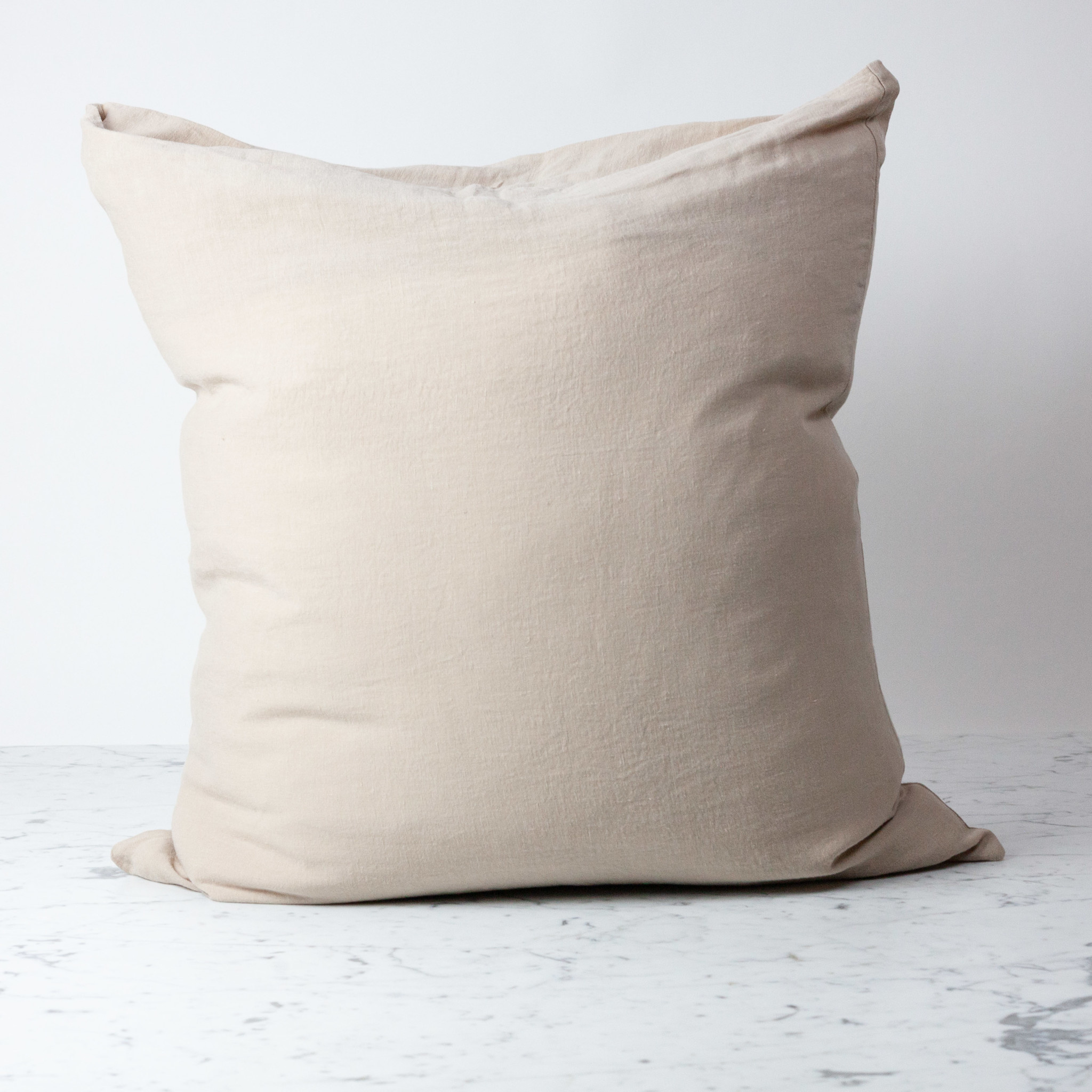 Washed French Linen Pillow Cover with Down Insert - Sand - 26 x 26""
