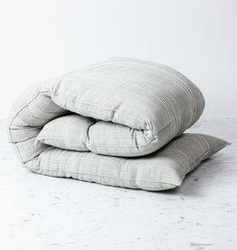 "TENSIRA Custom Handwoven Cotton Cushion - Kapok Filling - Grey + White Thick Stripe - 50"" x 14"""